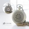 นาฬิกาพก LOCKET สไตล์วินเทจลายดอกดาวเรือง นาฬิกาของขวัญระบบถ่านควอทซ์
