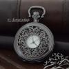 นาฬิกาพกลายไทยฝาฉลุกิ่งเถาวัลย์ดอกพุด แบบสายหนีบ(พร้อมส่ง)