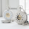 นาฬิกาพกไขลานลายเถาวัลย์หน้าปัดกลไกเปิดฝาได้2ด้าน สีเงินเงา
