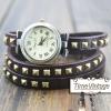 นาฬิกาหนัง พันข้อมือ 3 รอบ-สีน้ำตาลเข้ม (ฟรีค่าจัดส่ง EMS)