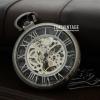 นาฬิกาพกไขลานสีดำขัด ดีไซต์ หน้าปัดโปร่งเห็นเครื่องกลไกหน้า-หลัง