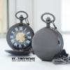 นาฬิกาพกไขลานสีดำเงาฝาทึบ ดีไซด์ Solid Gun Case Gold
