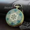 นาฬิกาพก สีน้ำเงิน Dark Blue Antique Brass Stone Flower (พร้อมส่ง)