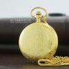 นาฬิกาพกฝาทึบพรีเมียม สีทองลายช่อบุษบา แบบควอทซ์ เลขอารบิค