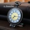 นาฬิกาพกฝาคริสตัล แบบพับตั้งโต๊ะ ตัวเรือนสีดำ ระบบถ่านควอทซ์ (พร้อมส่ง)