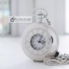 นาฬิกาพก สีเงิน Silver ฝาเรียบโรมัน British Roman แบบสายหนีบ (พร้อมส่ง)