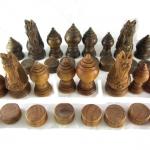 ตัวหมากรุกไทยไม้มะค่าและไม้ขี้เหล็ก