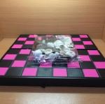 ชุดกระดานหมากรุกไทยพลาสติกกระดานสีชมพู