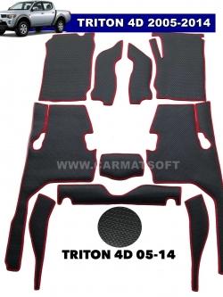 พรมกระดุมเม็ดเล็ก TRITON 4D ปี 2005-2014 รุ่น minimat สีดำขอบแดง (เต็มคัน)