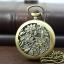 นาฬิกาพกฝาฉลุลายใบบัวสีทองเหลืองวินเทจหน้าปัดอารบิคระบบถ่านควอทซ์