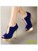 พรีออเดอร์ รองเท้าคัทชู/ส้นสูง สีน้ำเงิน มีไซด์ 34-39