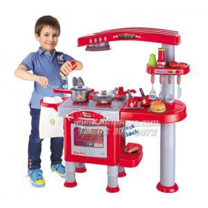ชุดครัวเคาน์เตอร์ทำอาหารพร้อมเตาอบและเครื่องล้างจาน สีแดง