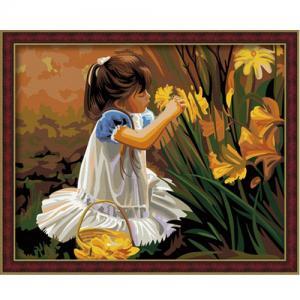 """MG030 ภาพระบายสีตามตัวเลข """"สาวน้อยเก็บดอกไม้"""""""