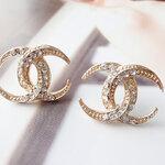 ต่างหูคริสตัล Chanel พระจันทร์เสี้ยว ทอง