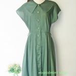 เดรสวินเทจกระดุมหน้าสีเขียวแก่ (Dark Green Front Buton Very Vintage Dress)