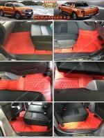 พรมปูพื้นรถยนต์ NEW RANGER 4D รุ่น PROMAT ลายหนังแท้ รีดขอบ สีแดง (เต็มคัน)